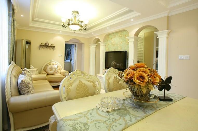欧式风格70平米小户型客厅吊顶效果图装修效果图