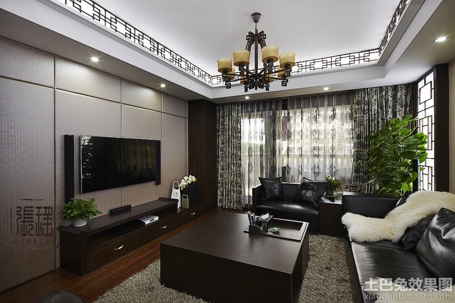 现代中式客厅硬包电视背景墙效果图装修效果图 第11张 家居图库 九正高清图片