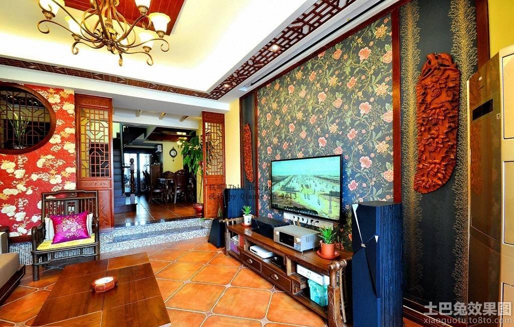 中式家装壁纸电视背景墙装修效果图装修效果图