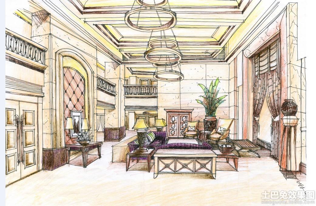 别墅客厅手绘效果图装修效果图