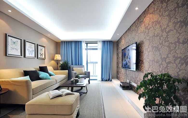 整体客厅壁纸电视墙效果图装修效果图
