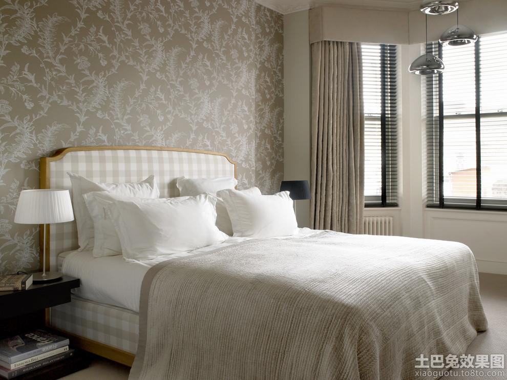 卧室欧式花纹壁纸贴图装修效果图