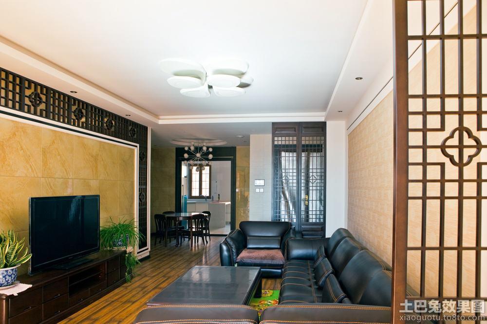 现代中式风格客厅瓷砖电视背景墙效果图 (4/7)图片