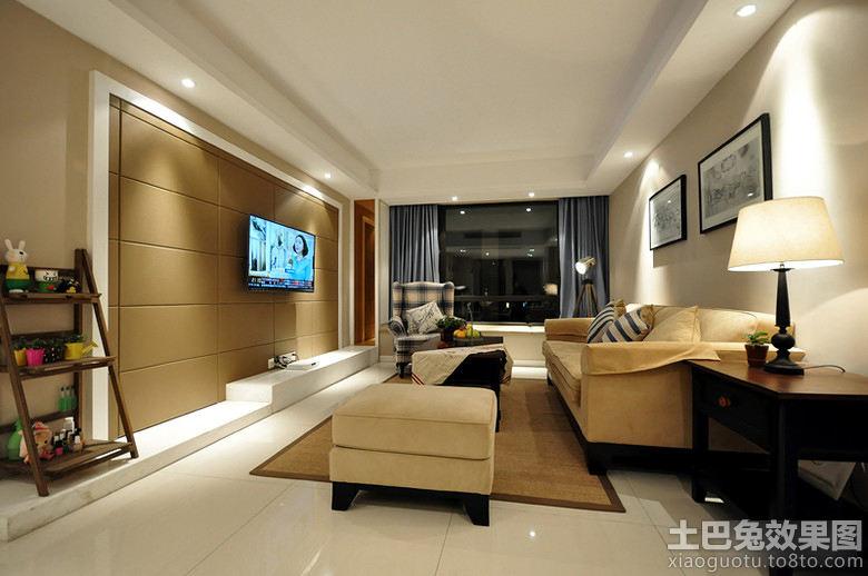 现代简约客厅装修硬包电视背景墙效果图 6 7高清图片