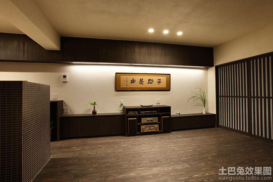 日式装修深色木地板贴图装修效果图