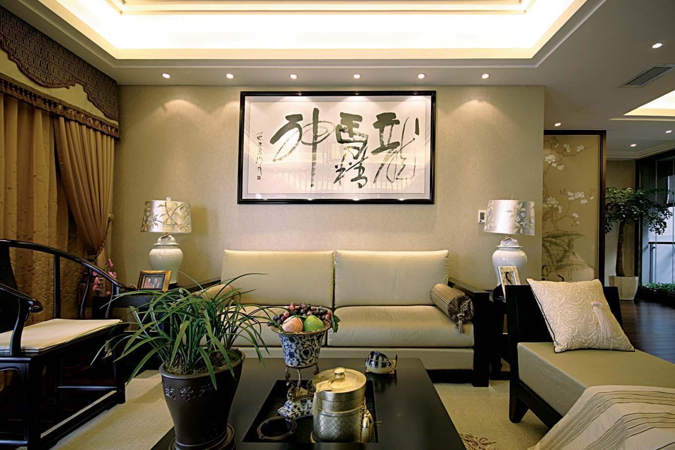 中式风格客厅喷绘画沙发背景墙装修效果图
