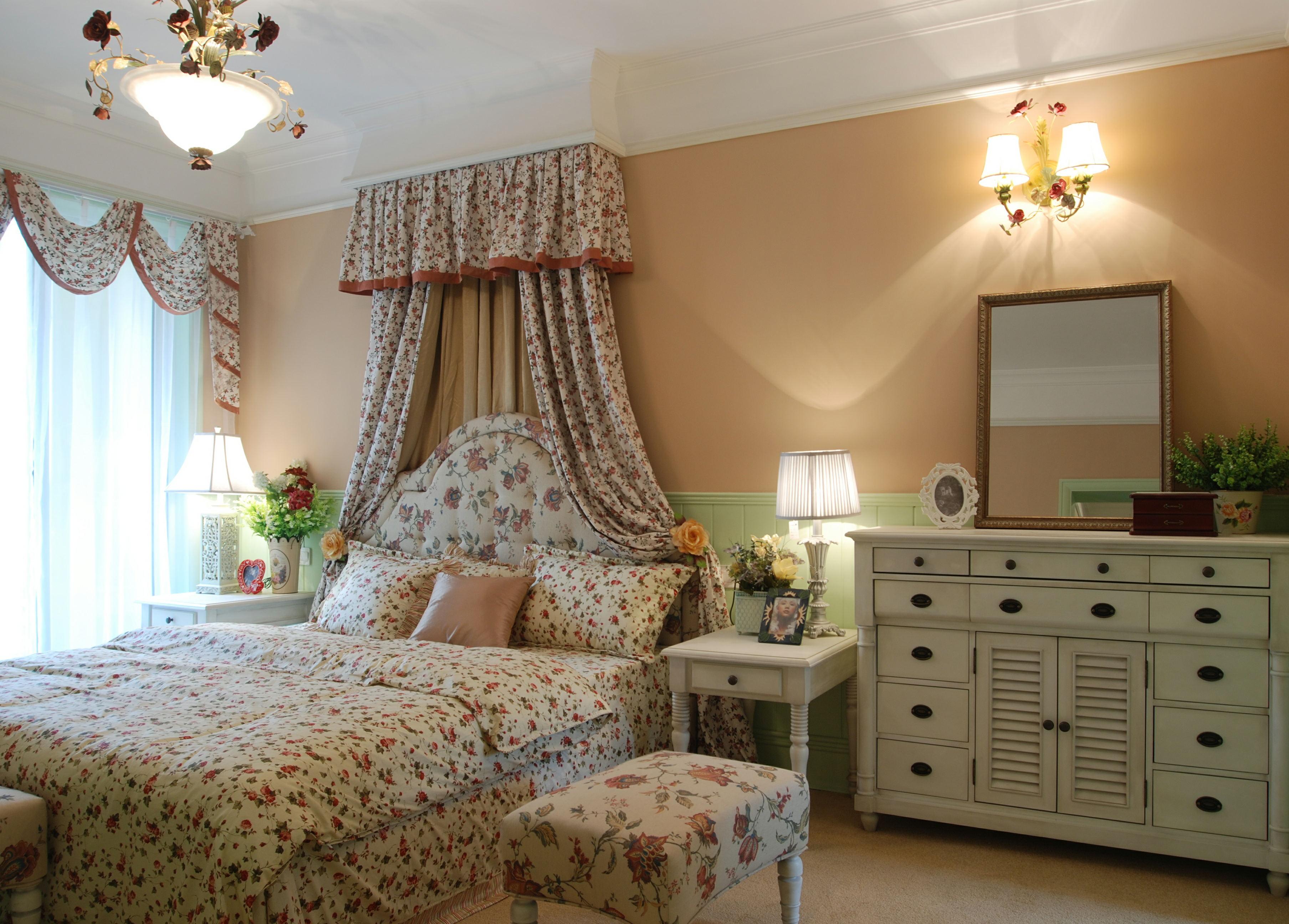 欧式田园风格主卧室床头柜效果图装修效果图图片
