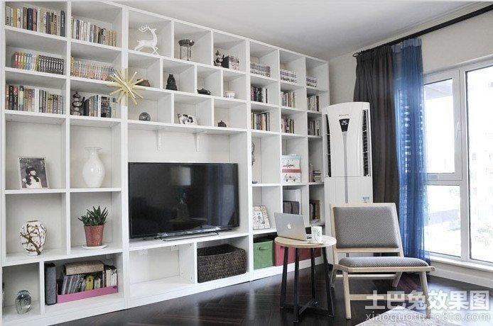 简约书柜电视柜背景墙装修效果图装修效果图
