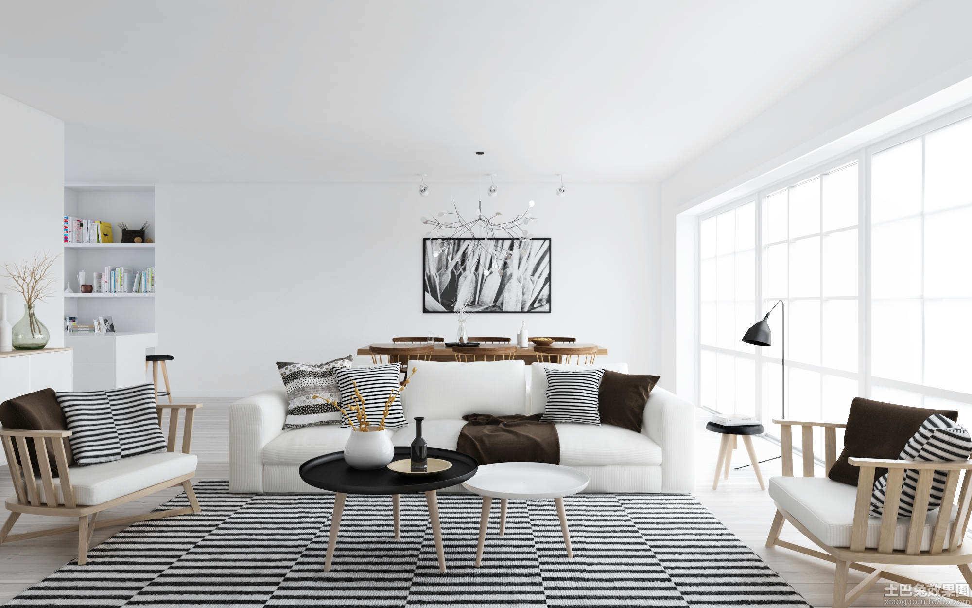 客厅北欧风格装修实景图装修效果图