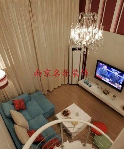 简约风格复式楼客厅俯视图装修效果图