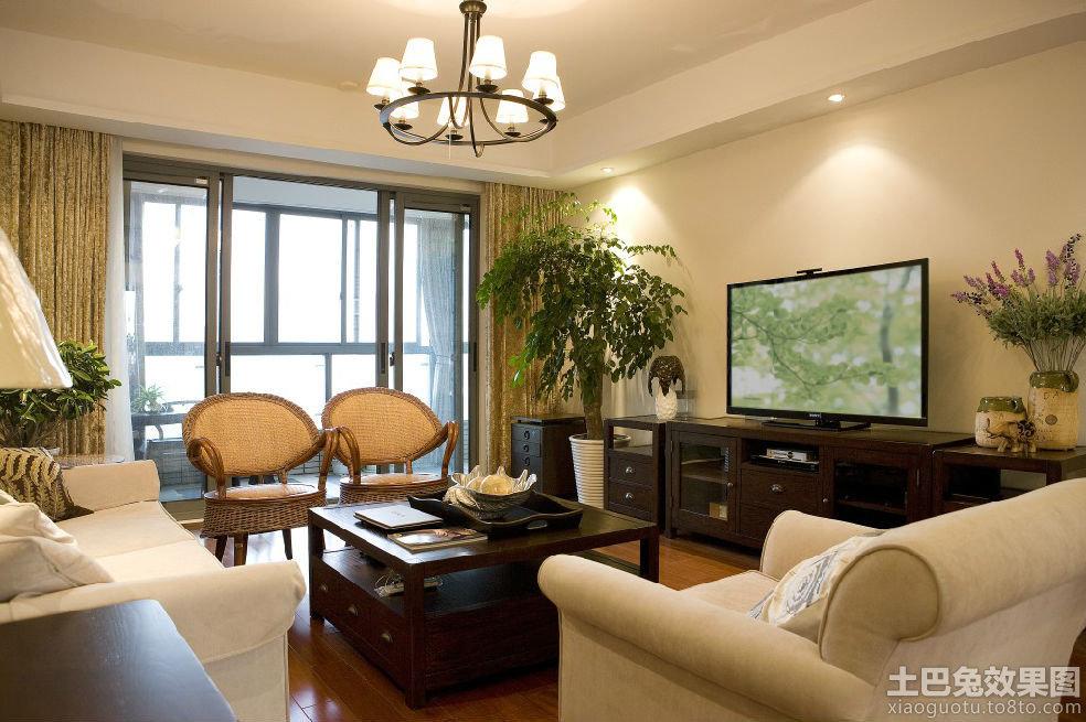简美式 三居室 客厅装修效果图 装修效果图 第6高清图片