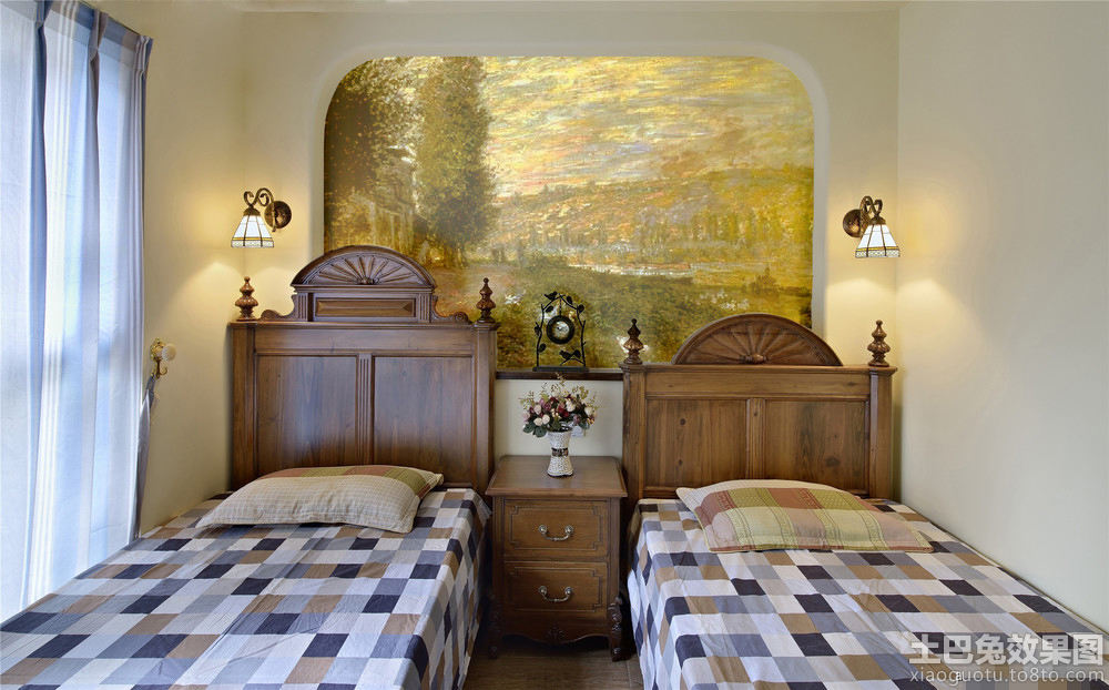 美式双人儿童房手绘背景墙效果图装修效果图_第2张