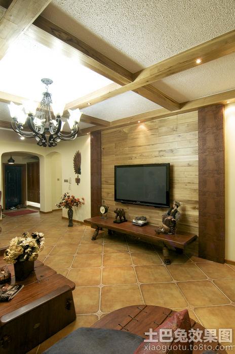 美式乡村风格客厅瓷砖装修效果图 (1/13)图片