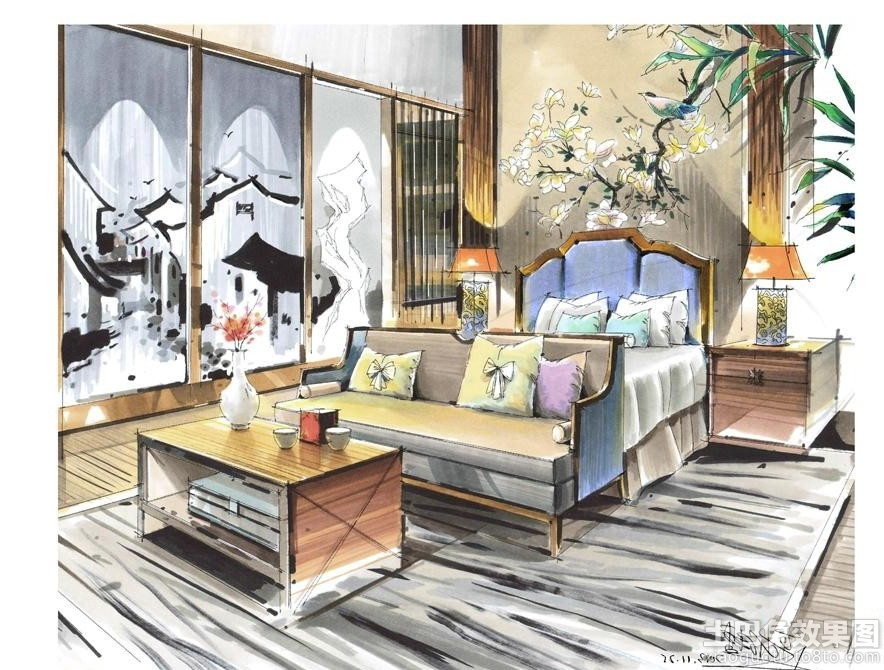 别墅卧室手绘效果图大全装修效果图