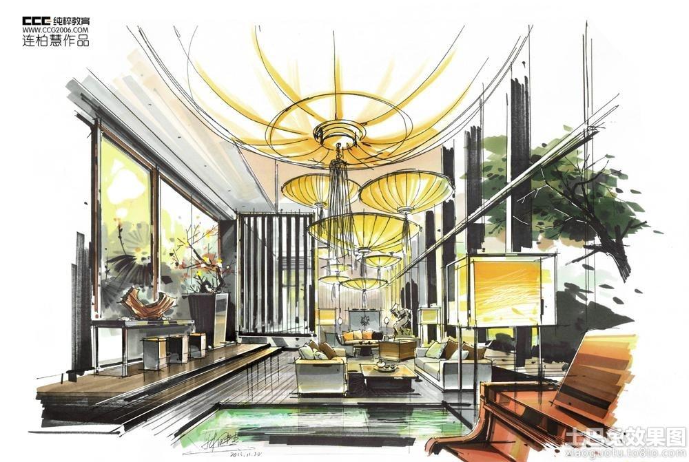别墅大厅手绘效果图装修效果图