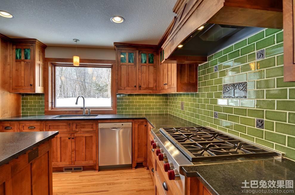 美式厨房墙砖贴图装修效果图