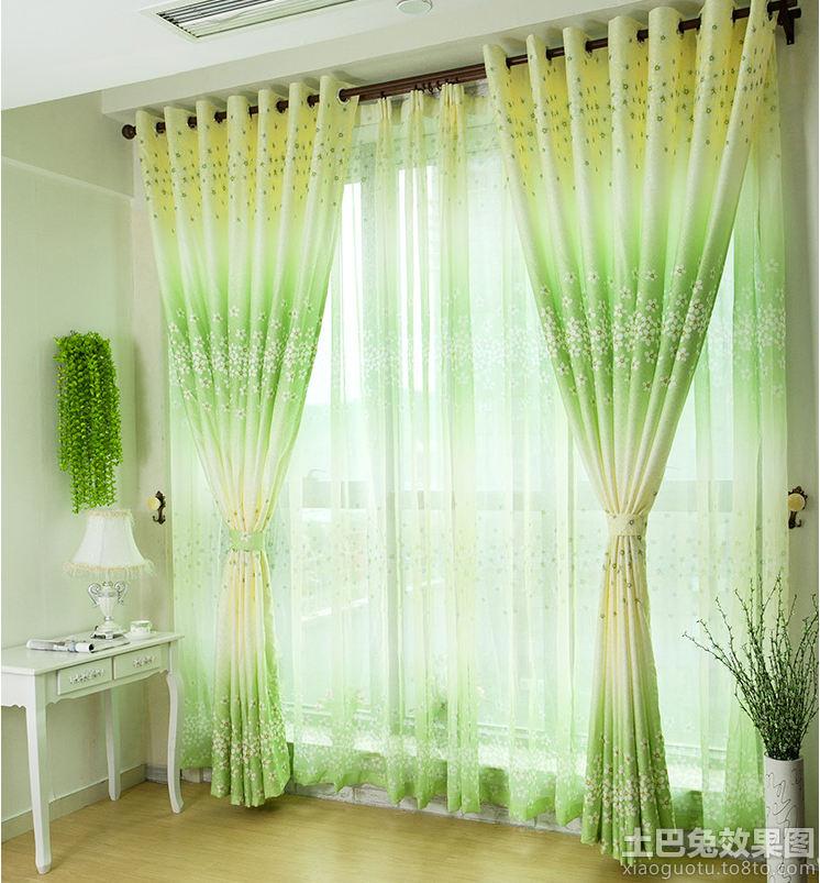 田园式客厅布艺窗帘效果图装修效果图