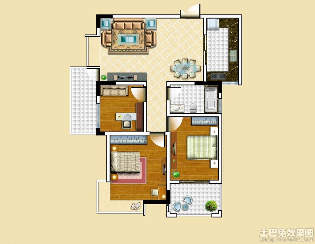 长方形房子设计图平面图装修效果图 (1024x792)-110平方米三层农