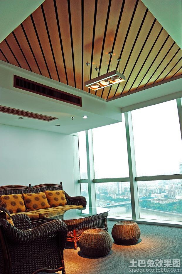 客厅桑拿板吊顶效果图 装修效果图 第2张 家居高清图片