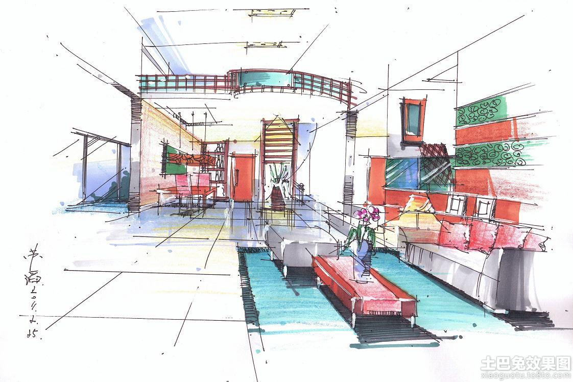 复式楼室内马克笔手绘效果图装修效果图