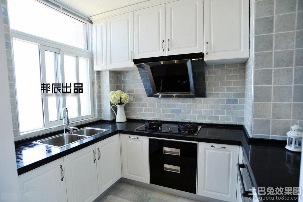 黑白色风格厨房灶台面装修效果图