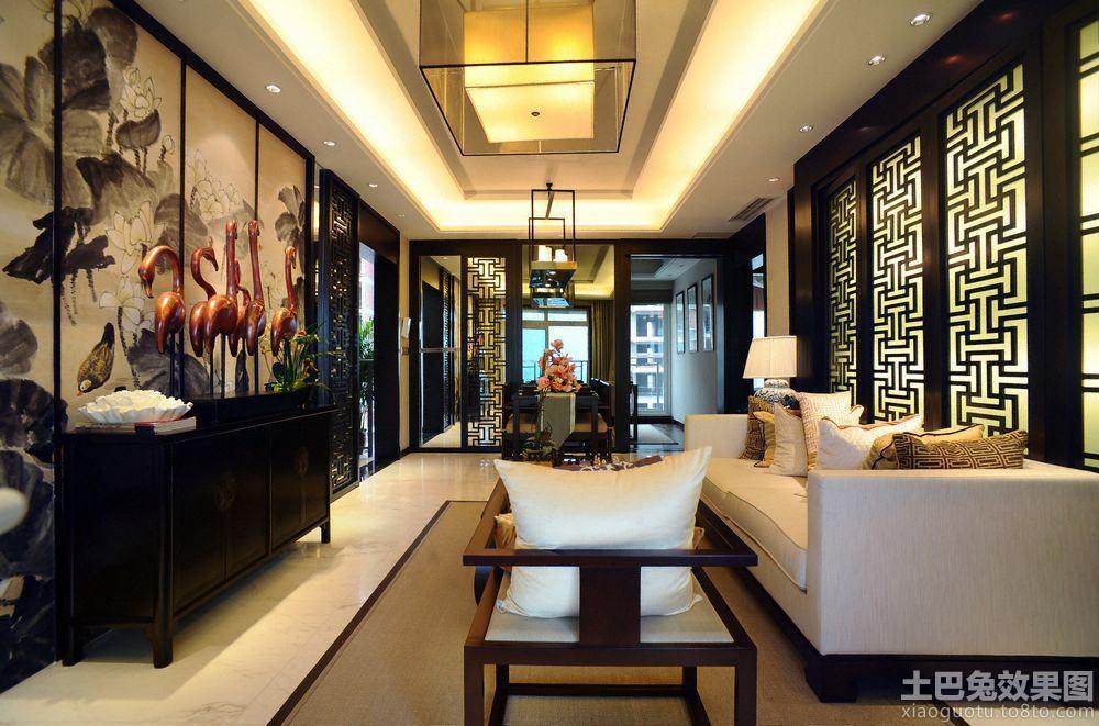 新中式三室两厅客厅古画背景墙装修效果图_第5张图片