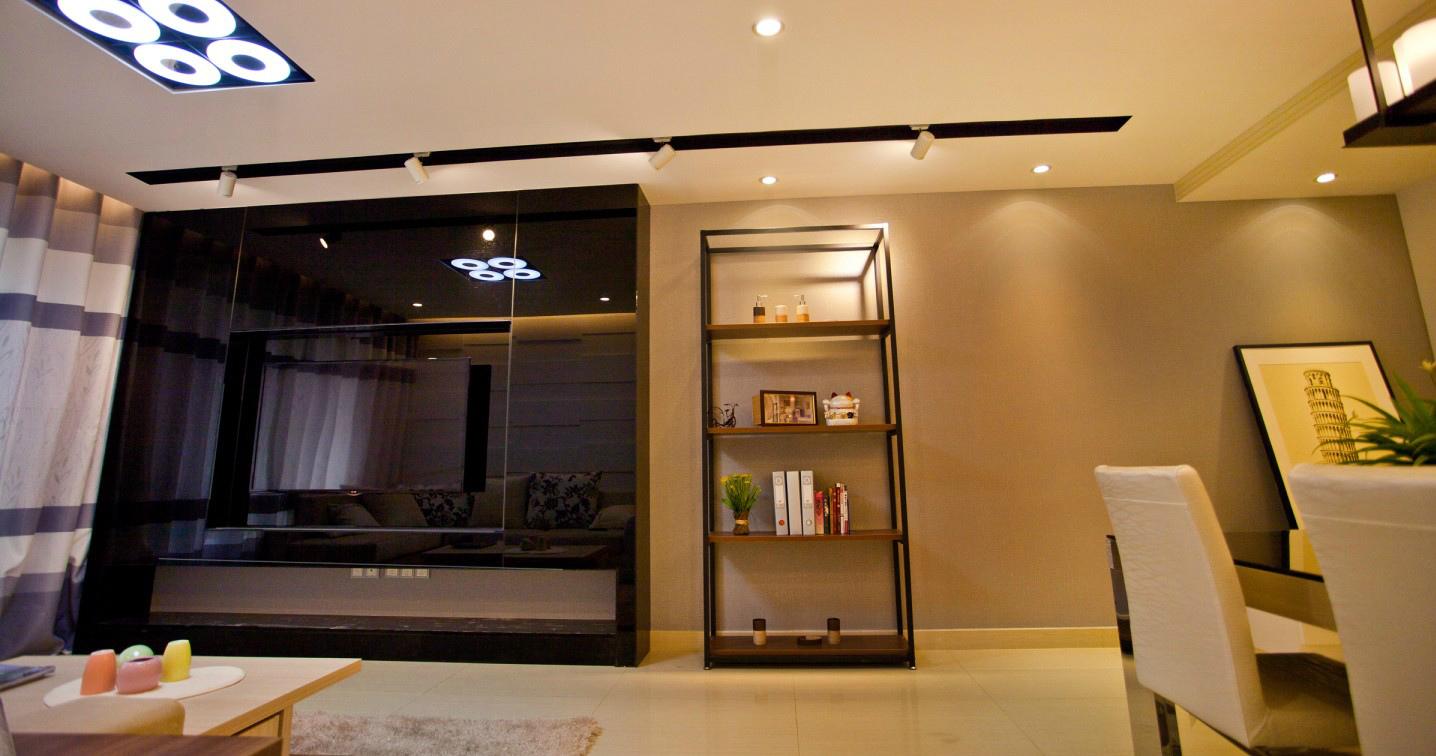 现代风格玻璃电视墙效果图装修效果图