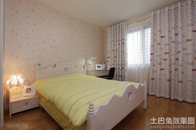 欧式女生卧室窗帘设计装修效果图图片