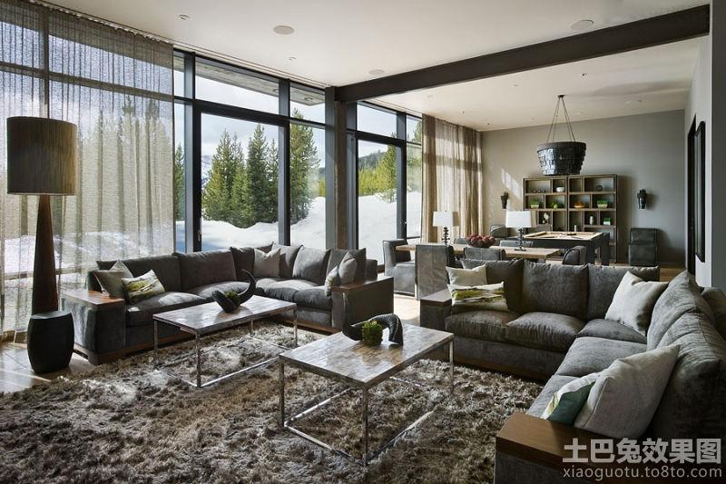 现代简约风格别墅客厅 装修设计 图片欣赏 装修 效果图