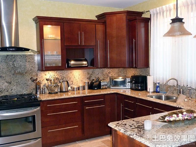 美式厨房实木橱柜大理石台面设计 (1/3)图片