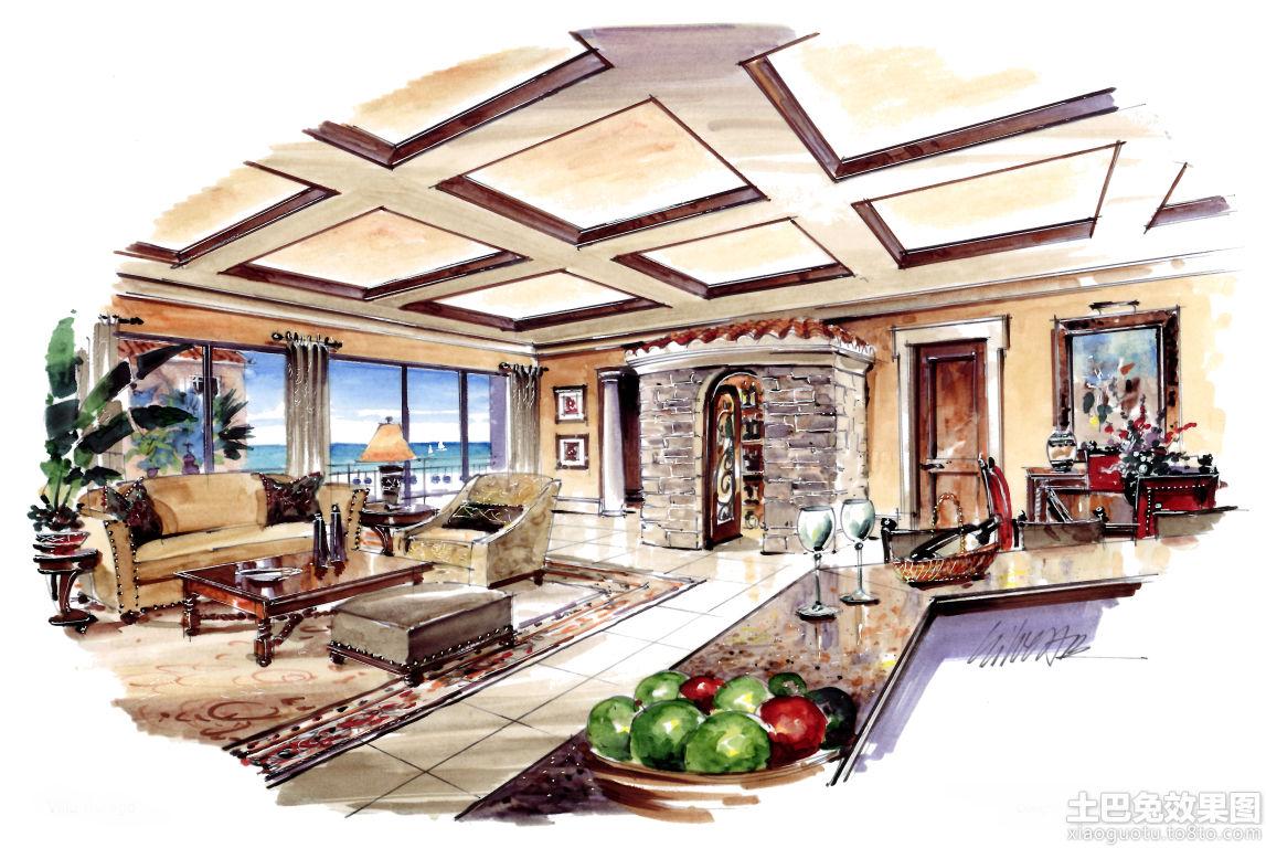 别墅室内马克笔手绘效果图装修效果图
