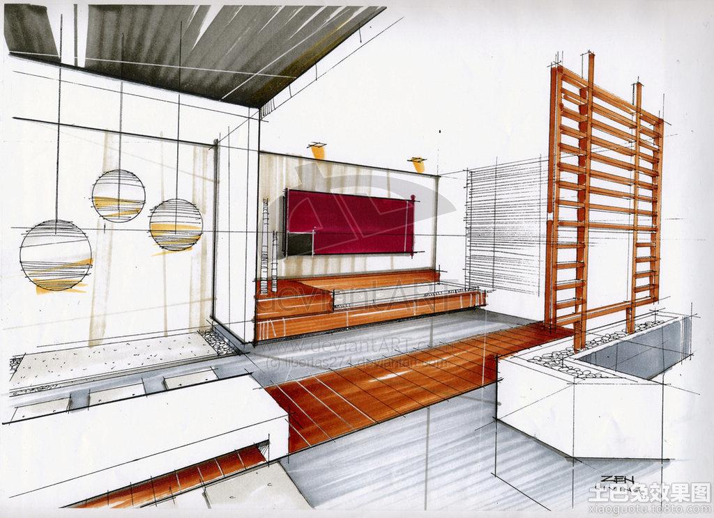 简约风格室内马克笔手绘效果图装修效果图