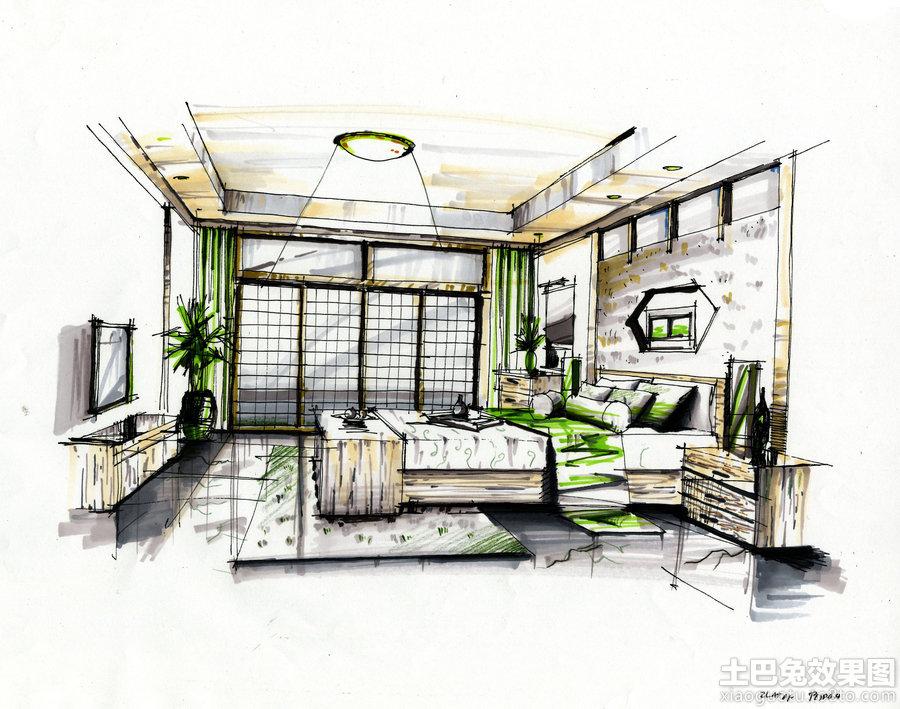 卧室室内马克笔手绘效果图装修效果图