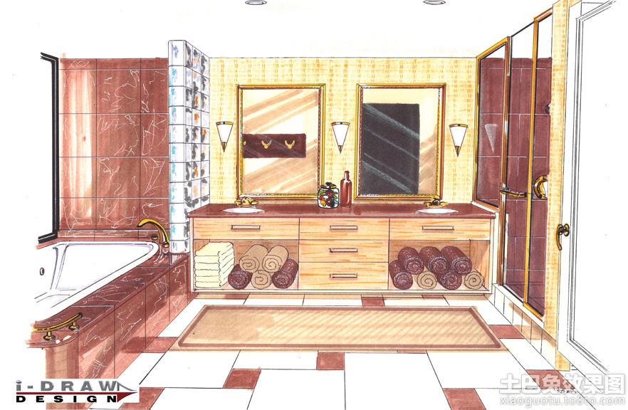 卫生间马克笔手绘效果图装修效果图