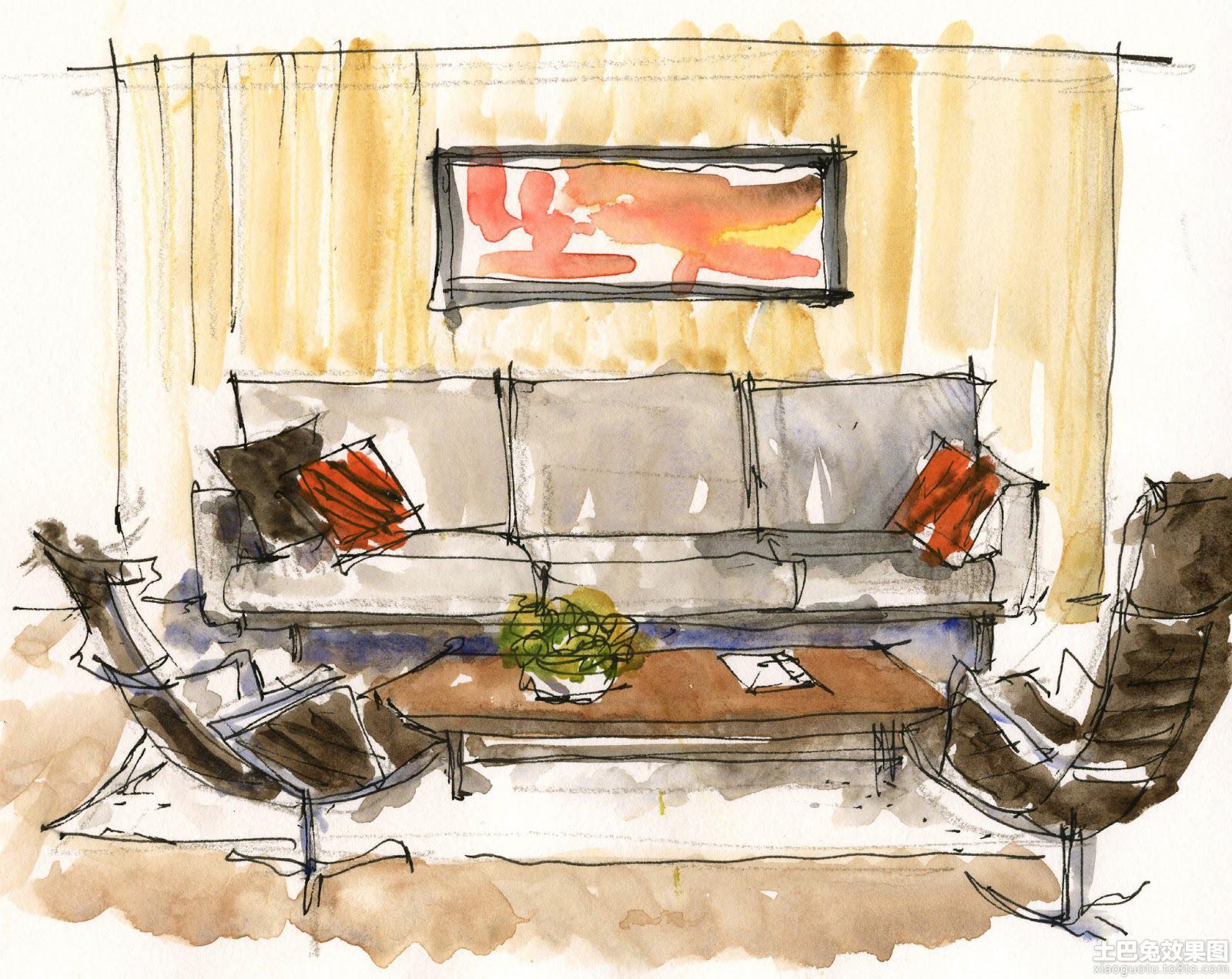 客厅室内马克笔手绘效果图装修效果图
