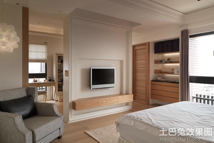 简欧风格卧室电视墙装修装修效果图