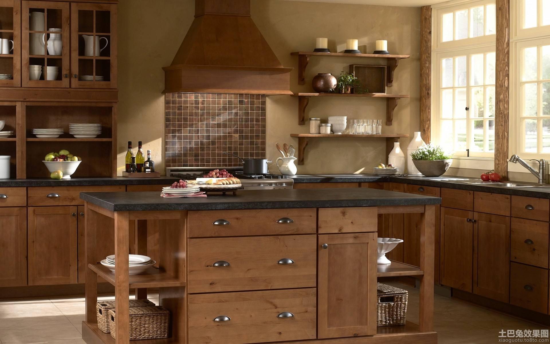 复古欧式厨房实木橱柜效果图 (5/8)图片