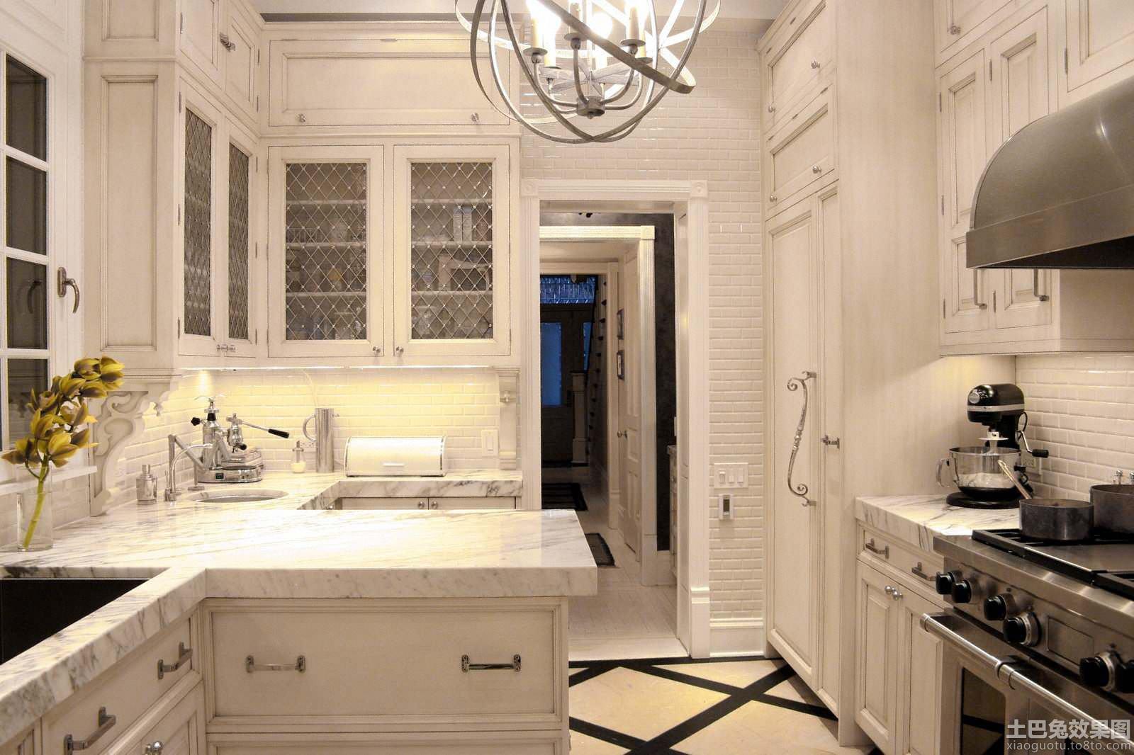 欧式厨房砖砌橱柜图片装修效果图
