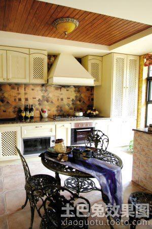 乡村风格厨房桑拿板吊顶效果图装修效果图 第9张 家居图库 九正家居网高清图片