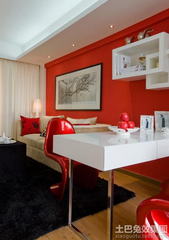 客厅红色背景墙挂画装修效果图