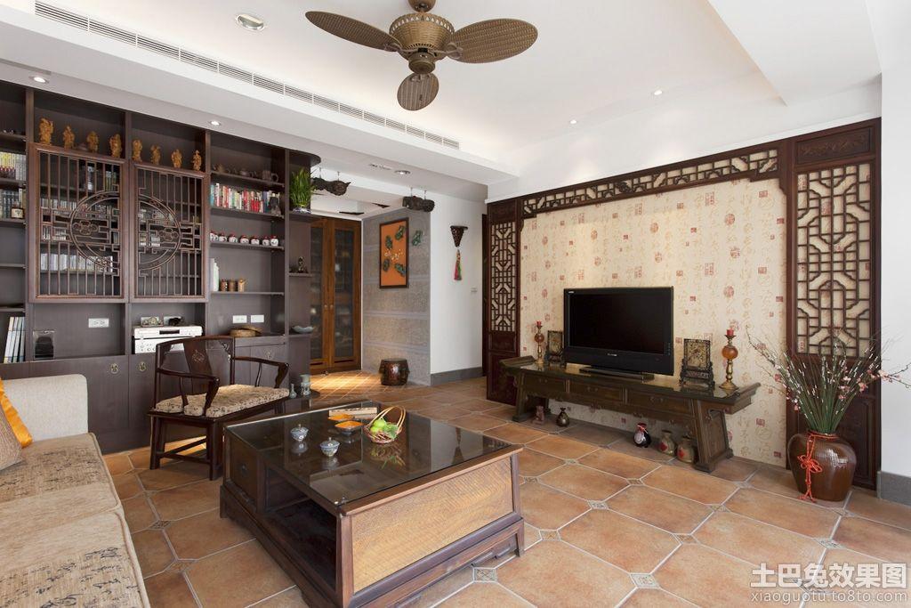 中式风格客厅电视墙壁纸图片 (4/6)图片