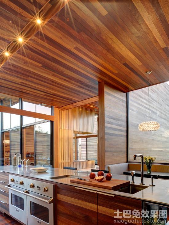 木别墅厨房 桑拿板吊顶 效果图 装修效果图高清图片