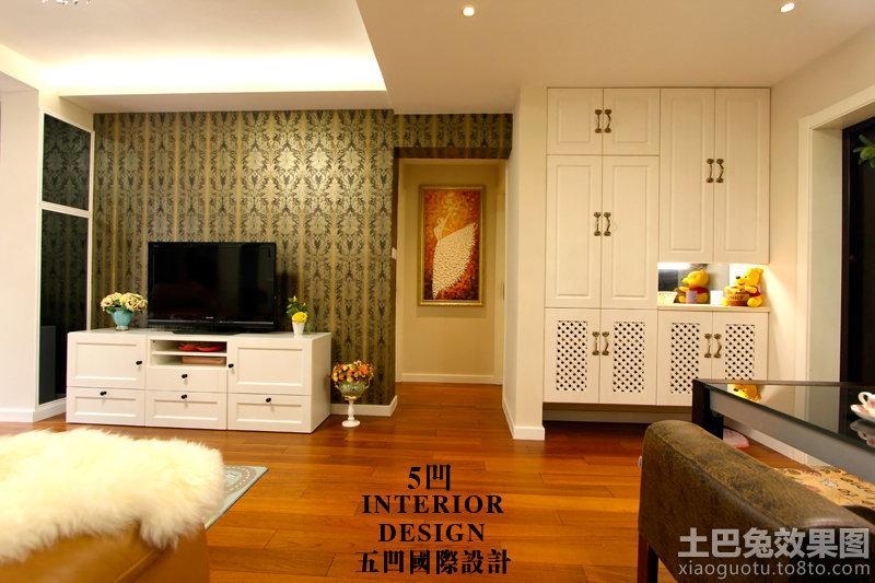 现代美式家装客厅电视背景墙壁纸图片装修效果图
