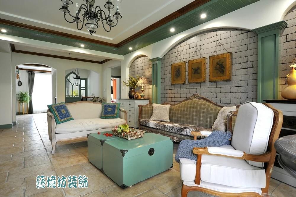欧式复古风格三室两厅客厅设计效果图装修效果图_第10