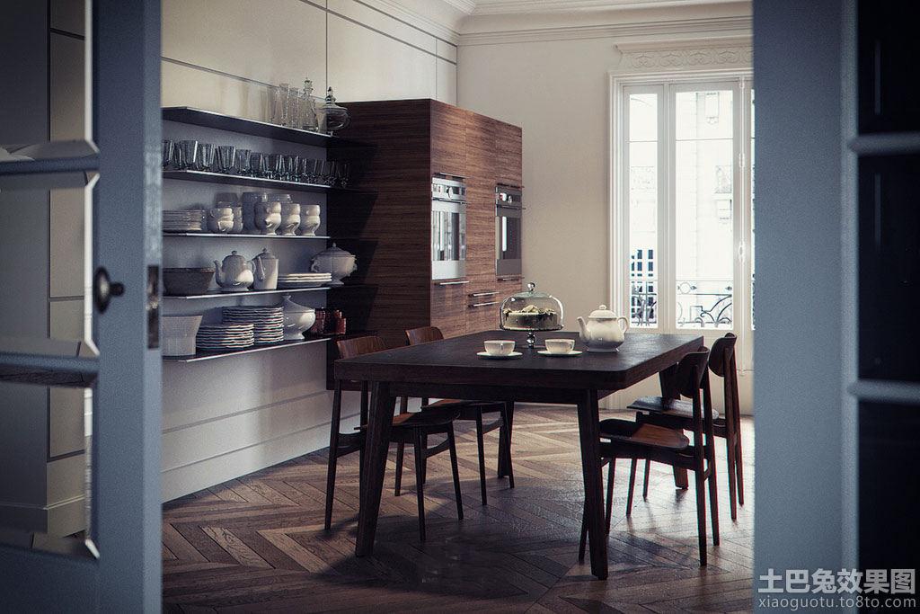 极简主义家庭装修厨房餐桌效果图片装修效果图