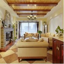 田园风格复式楼客厅有梁吊顶效果图 (5 张图)图片