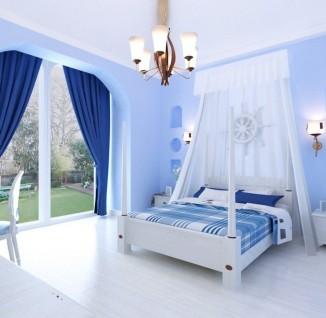 清新的蓝色客厅吊顶装修效果图