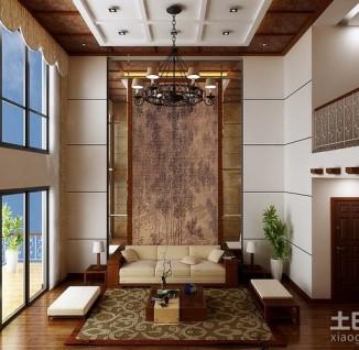 新中式别墅客厅电视背景墙造型