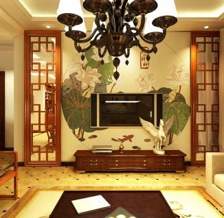 中式客厅电视背景墙壁纸效果图