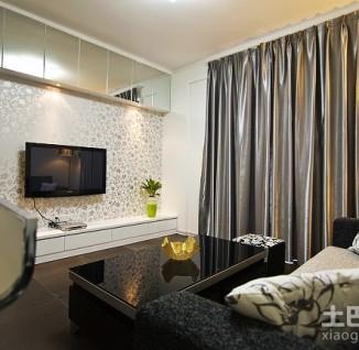简约客厅碎花壁纸电视背景墙效果图